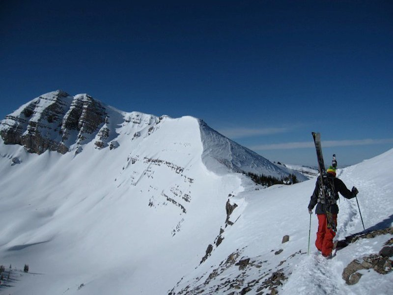 Once you top out on the scrambly lower northeast ridge, you can get an eye on Cody's incredible north and east facing lines. This shot taken during a long dry spell in March 2010.