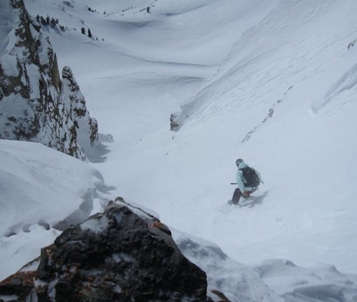 Battling variable snow conditions, Michelle Smith stays on her feet in the gut of Once is Enough. March 2009