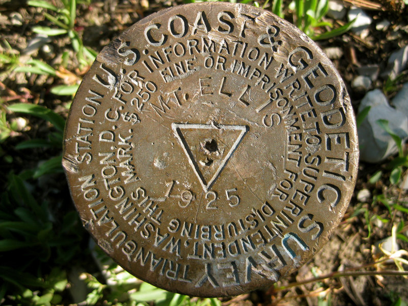 Mount Ellis summit survey marker.