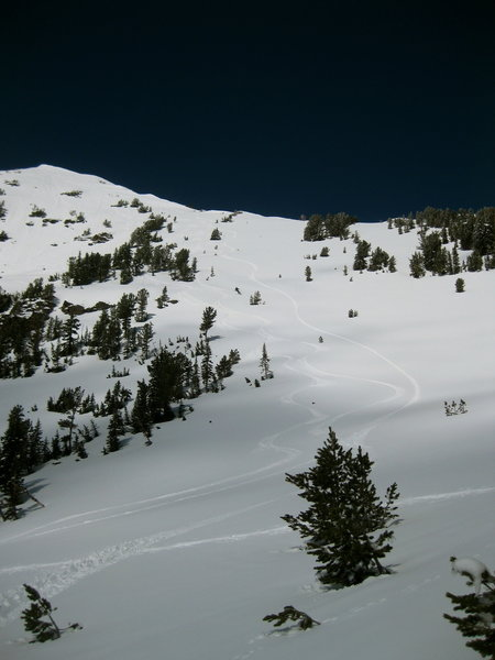 The intermediate powder fields of Mount Blackmore's east face.