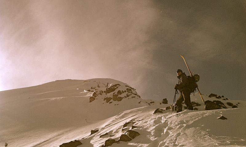 Starting the bootpack to the summit of Mount Blackmore.