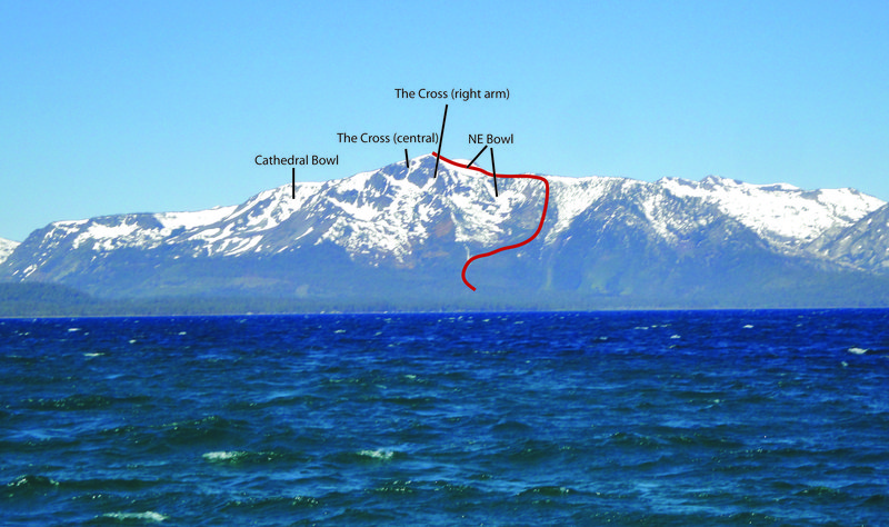 A few of the main ski lines on Mount Tallac's East Face. Photo taken during late spring conditions (June 2010). Red line shows standard ascent route.