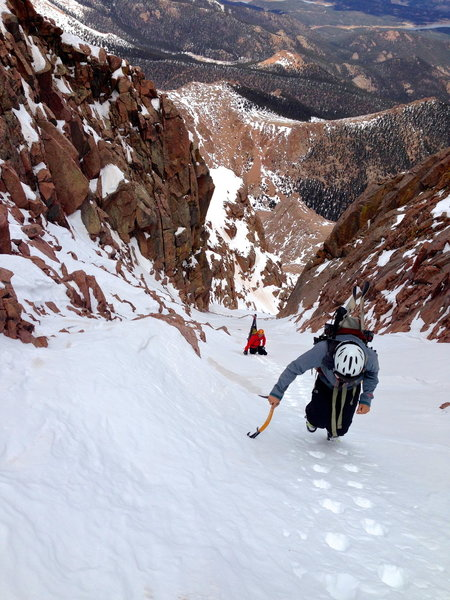 Climbing the final section of the Middle Fork of the Y Couloir.