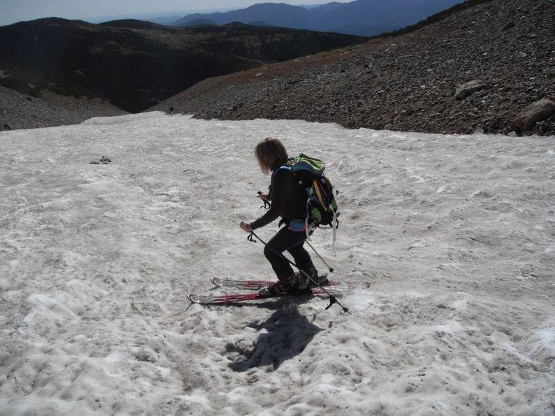 My mom, skiing the glacier.
