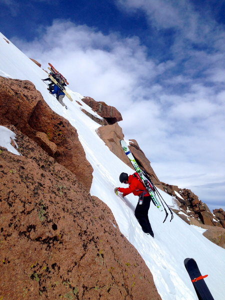 Descending onto the initial slope of the Hero Traverse.