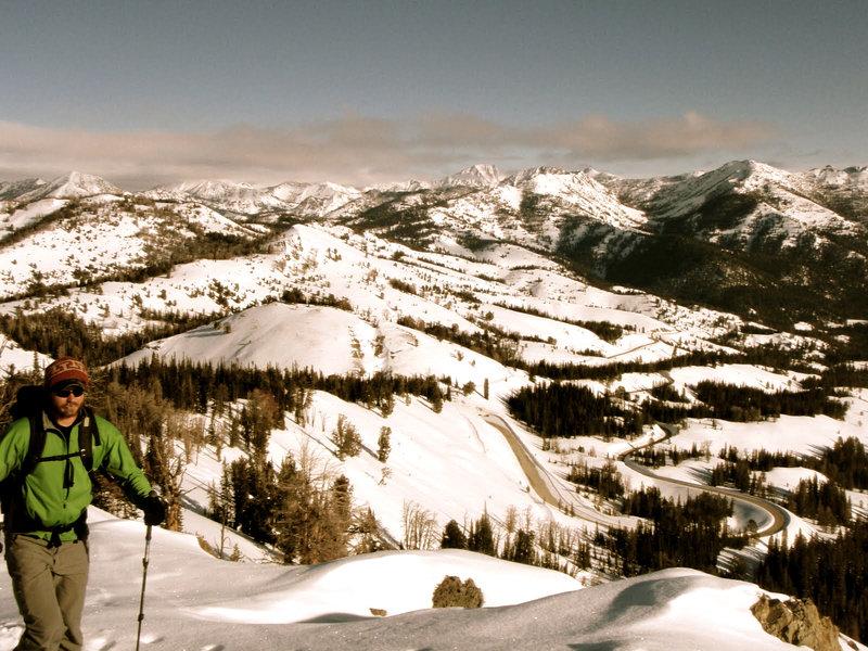 Skinning above the Galena Summit.