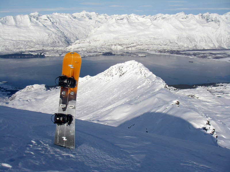 The split board makes another sunny day even more amazing on the summit of Snowdome with Valdez in the back ground.