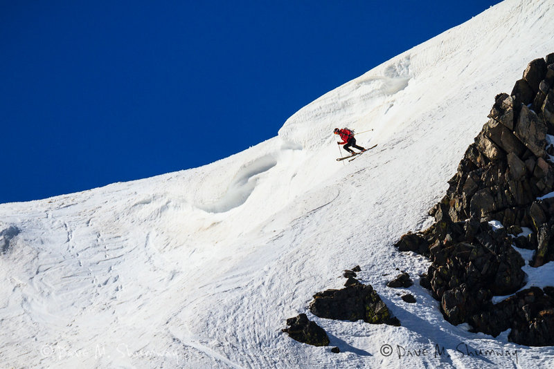 Tanner making his first turn, skiers right, on the Rock Creek Headwall. May 2014 - Photo by: Dave Shumway 