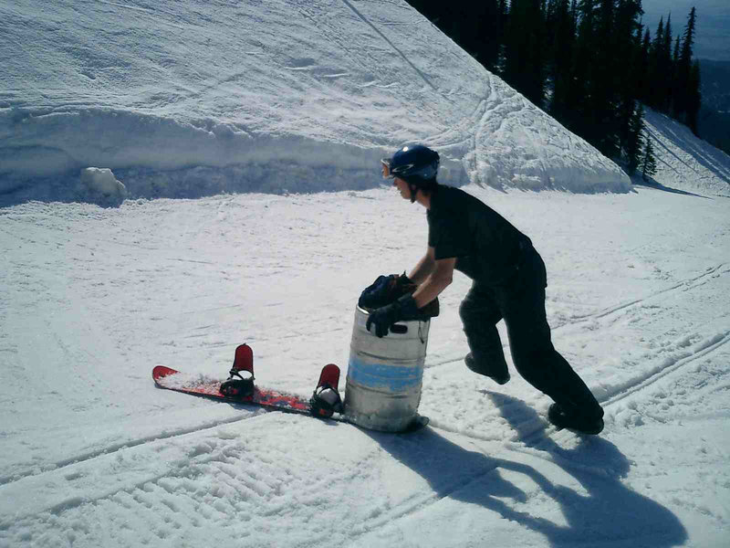 Making use of the uphill policy by pushing a keg.