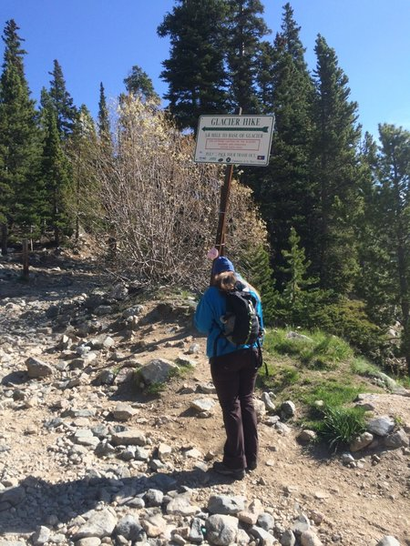 Saint Mary's Glacier Trailhead.  This is what much of the approach is like, dirt and rocks.  Wear good hiking shoes!