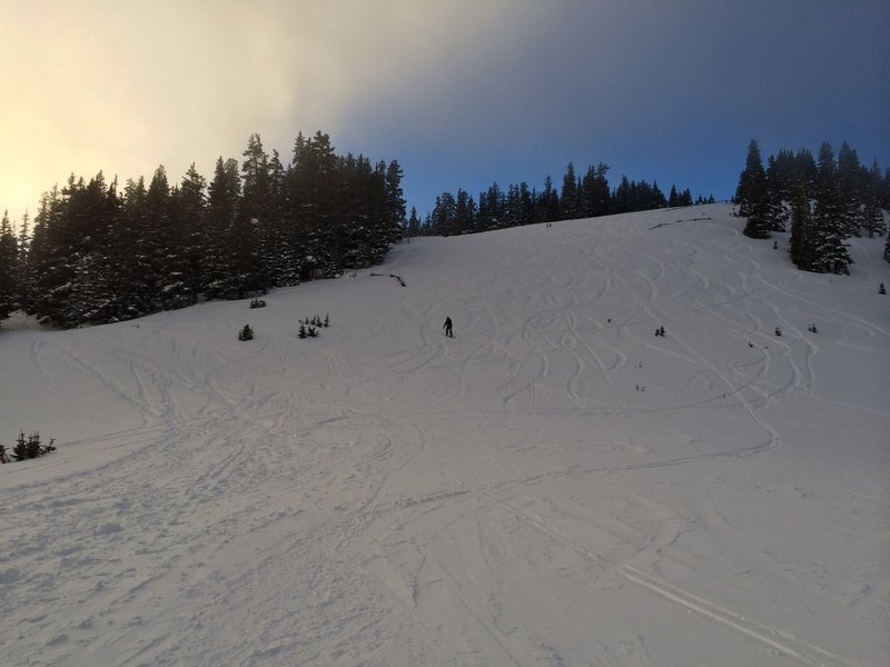 Geoff riding Mainline on his second day of snowboarding.