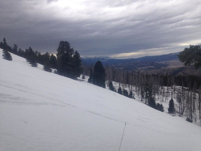 Looking north at the Bridgers. This top area would be great to lap in good snow conditions.
