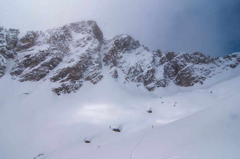 Approaching the V Couloir on Prospector's Mountain