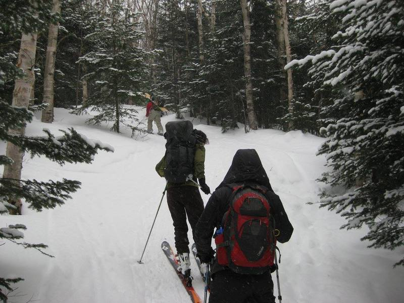 Heading up the dedicated ski trail