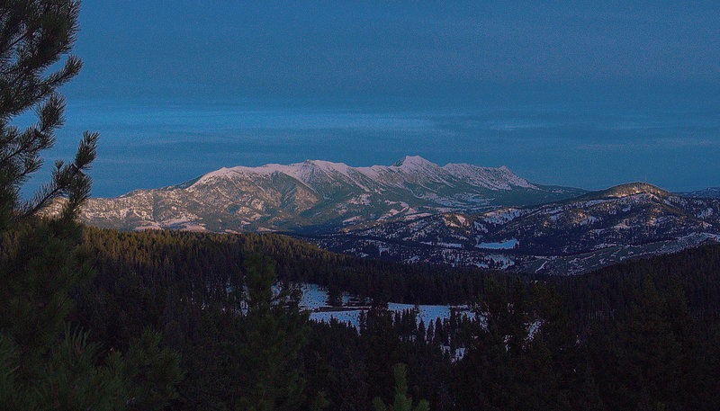 The Bridger Mountain Range at sunrise.