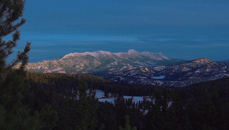 The Bridger Mountain Range at sunrise.
