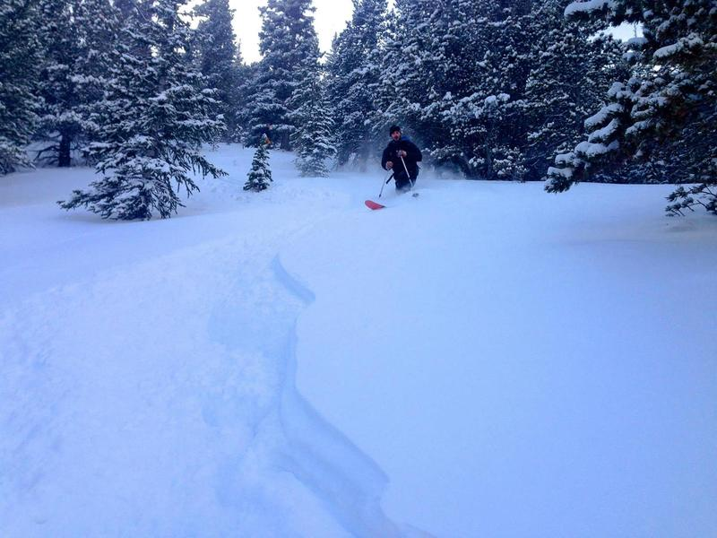 Skiing the trees just north of the Chute. Like I said, this place gets DEEP and holds snow long after the last storm.