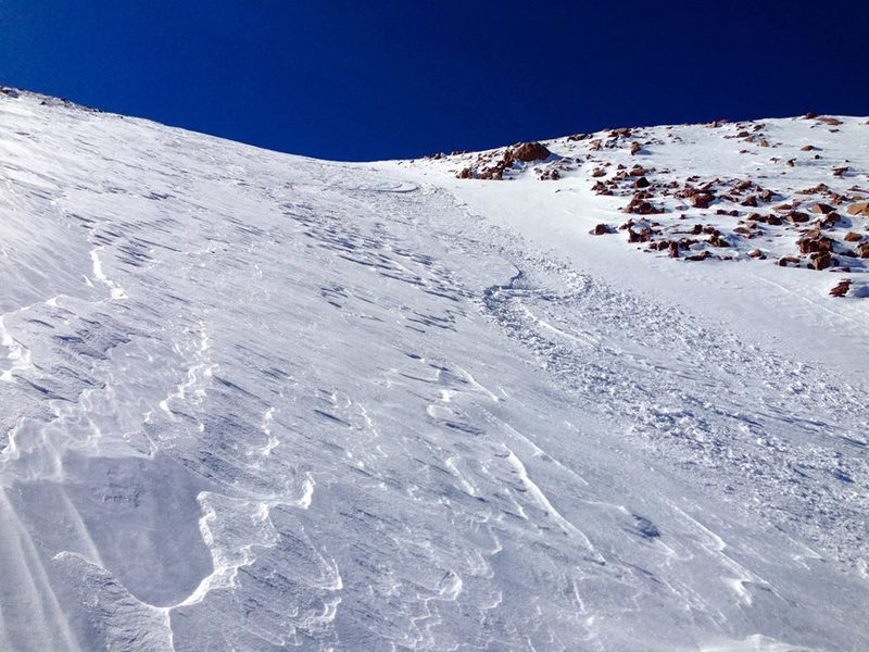 Looking back at tracks on the upper bowl that leads into the couloir. This was in October!