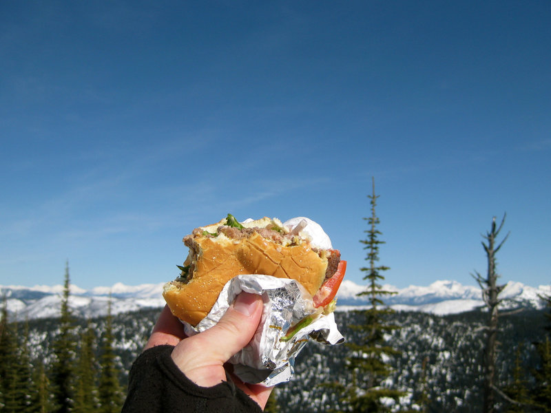 The view from the proper summit of the Big Mountain is enhanced when enjoyed alongside a fresh cheeseburger from the Summit House.