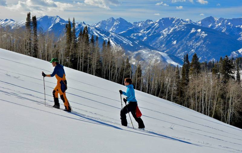 This shot gives you an idea of the angle of this slope and the amazing view of the Maroon Bells it affords!