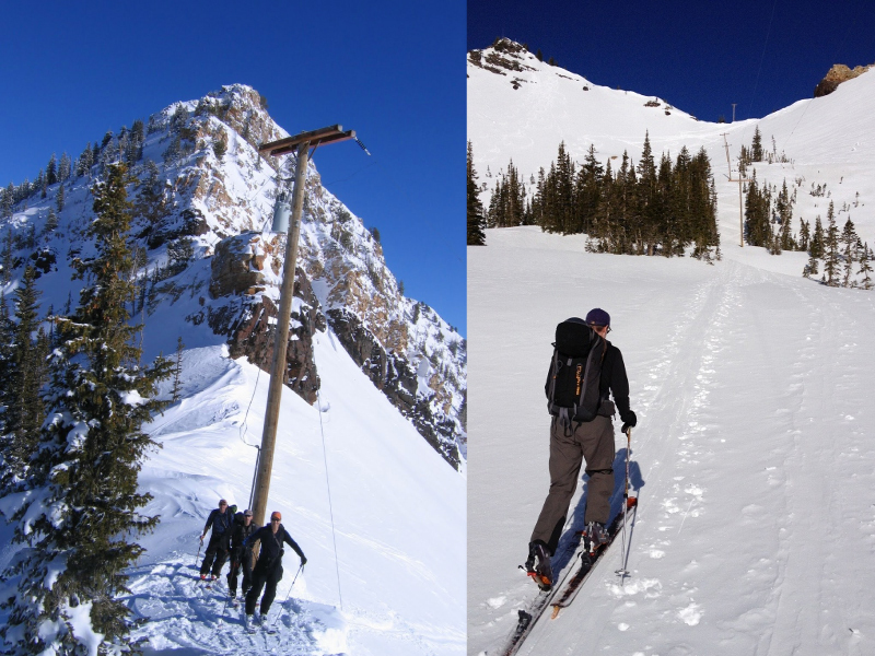 (left) top of Cardiff Pass (right) heading up