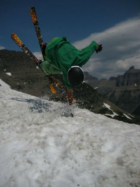 Summer skiing Logan Pass.