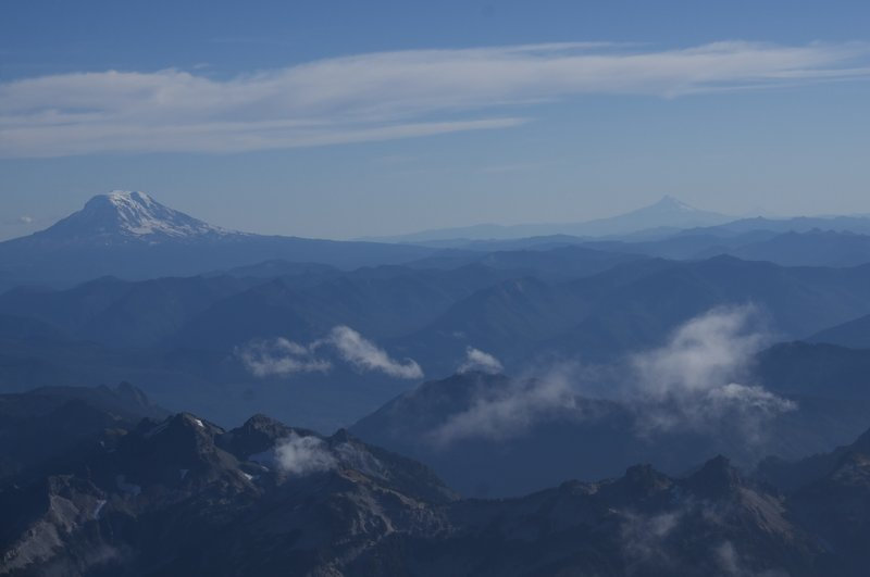 View from Camp Muir. Mount Adams, Hood, and Jefferson (look hard) from left to right.