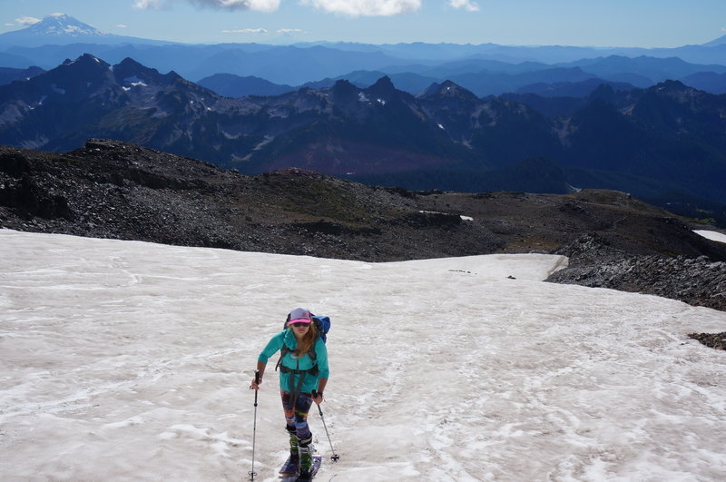 Classic early Fall conditions coming out of Pebble Creek. If you really need a fix, Muir Snowfield can satisfy your needs 12 months a year!
