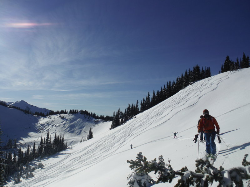 Making short work of tracking out all of Skyline Ridge on a blower powder day.