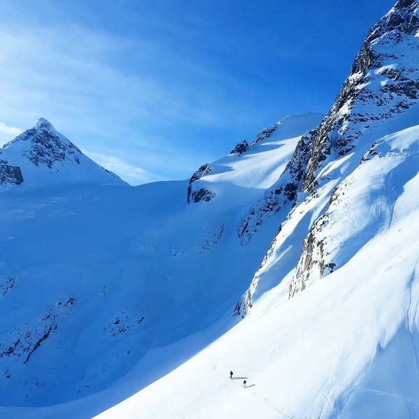 Skiers leading the way up Aniversery Glacier between Mount Joffree and Mount Matier.