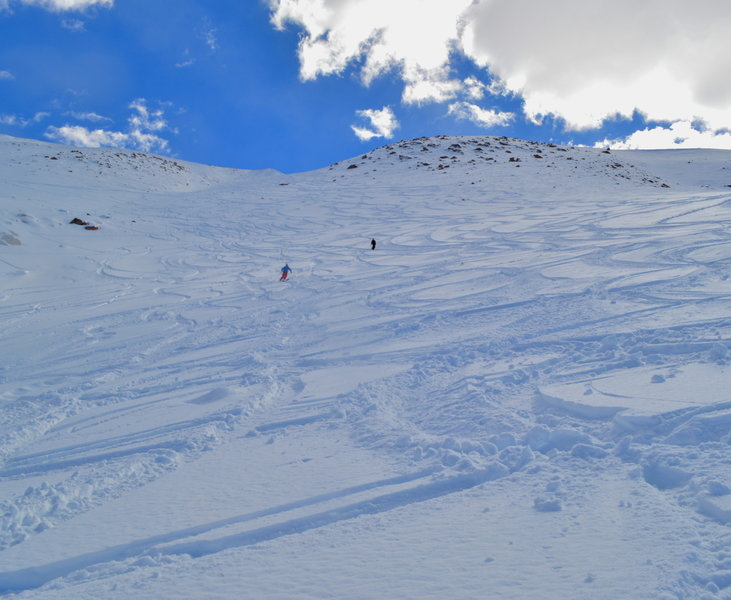Looking up Big Blue on an amazing powder day.