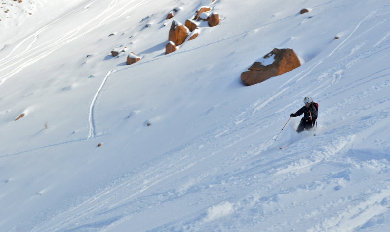 Half-way down the bowl. The skin track in the background.