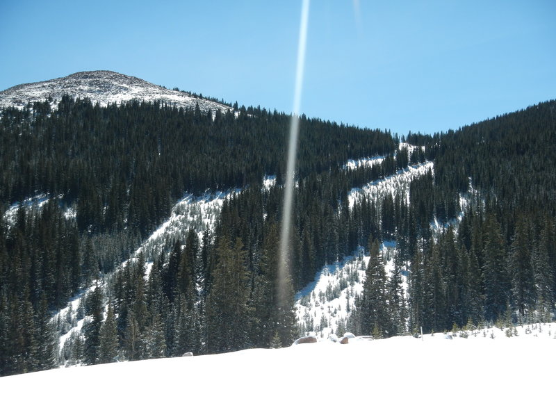 Looking at the old Pikes Peak Ski Area trails from the Pikes Peak Highway.
