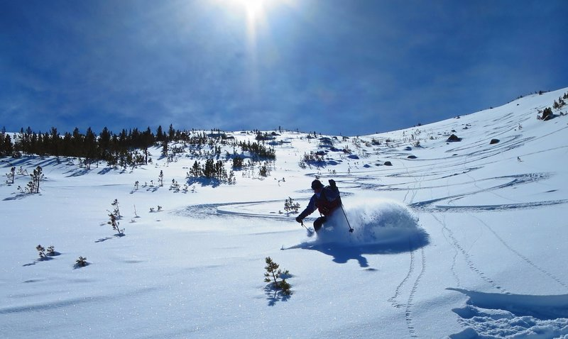 Jeff zippers some pow off the top of Mt Olsen. 35 degree north-facing slope with 1800' descent.