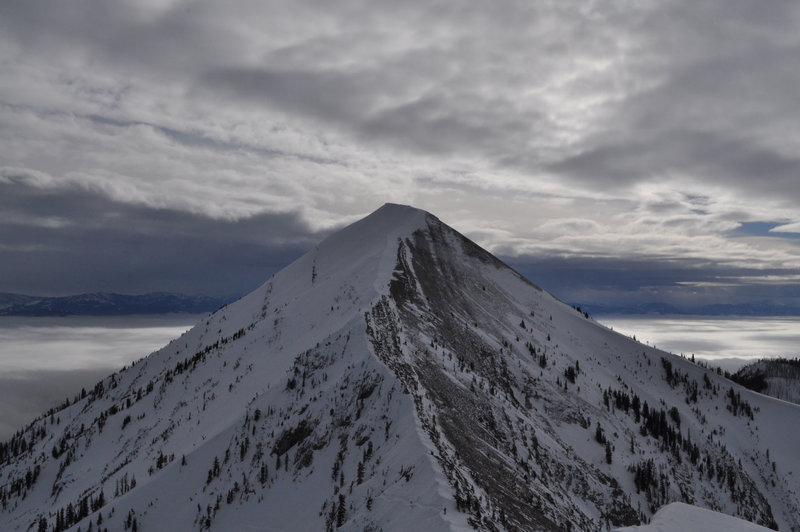View of Saddle from top of Slaushmans. Hike runs up the ridge line the whole way. Most people ski right down the nose on the left.