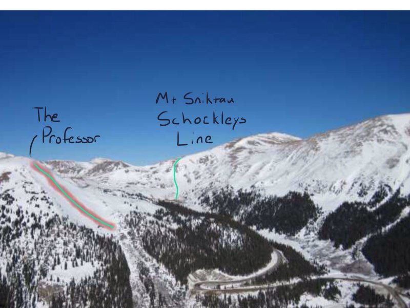 Mount Sniktau Schockleys Line from A-Basin.  The Prof shown for reference.