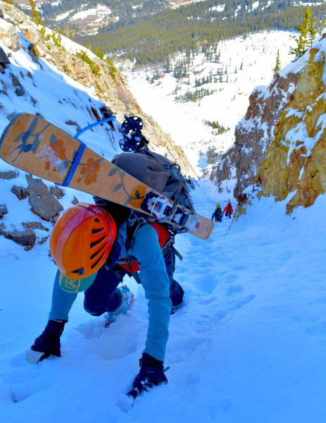 Climbing the last steep section before you emerge from the couloir.