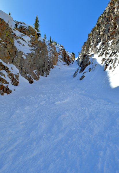 Looking up the upper portion of the couloir.
