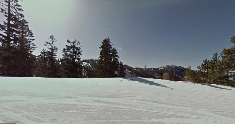 This is where you drop off the ridge on skiers left