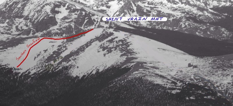 Saint Vrain Mountain Southern Snowfield Line