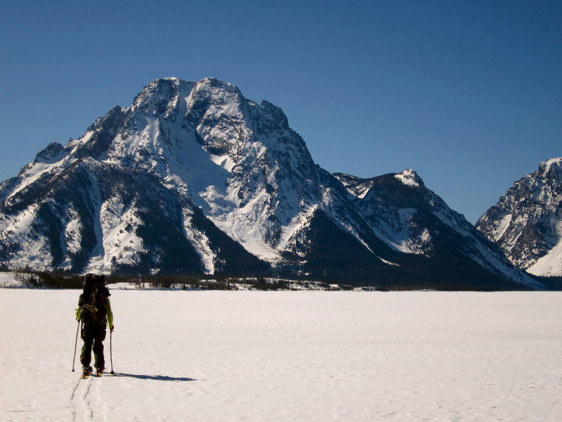 Walking across the lake to Mt. Moran