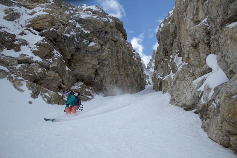 Skiing out through the last bit of the couloir