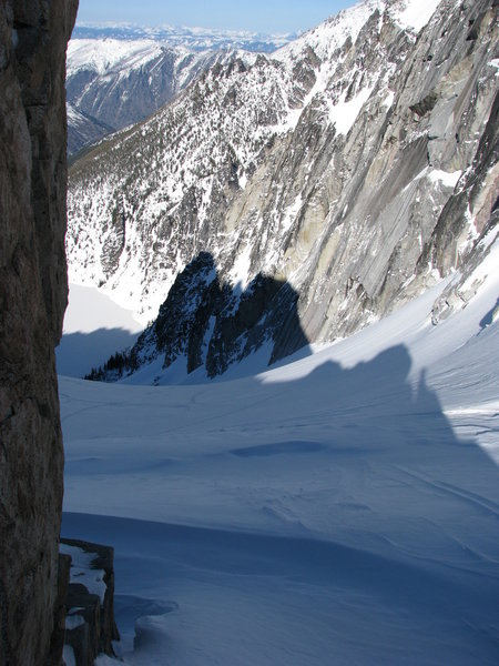 Looking down the Colchuck Glacier from the Dragontail-Colchuck notch.