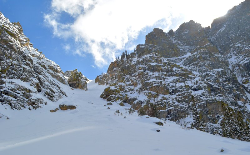Looking up the East Couloir from the apron.