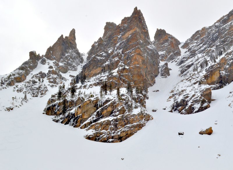 Looking up Dead Elk (left) and Dragontail (right). April 2015.