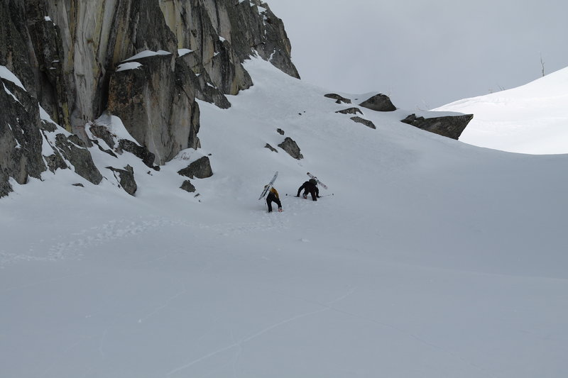 Booting up the main snowfield.  Summit ridge is above and to the right.