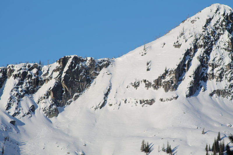 Telephoto shot of Beaverdam peak with our ski tracks.  The photo was taken from the Lick Creek Road.  This photo shows the line we skied, as well as some of the other alternatives on the peak.