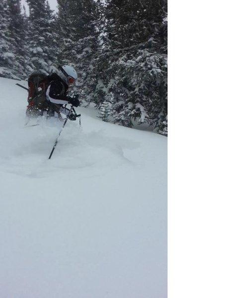 Swimming through snow below the dream lake chutes