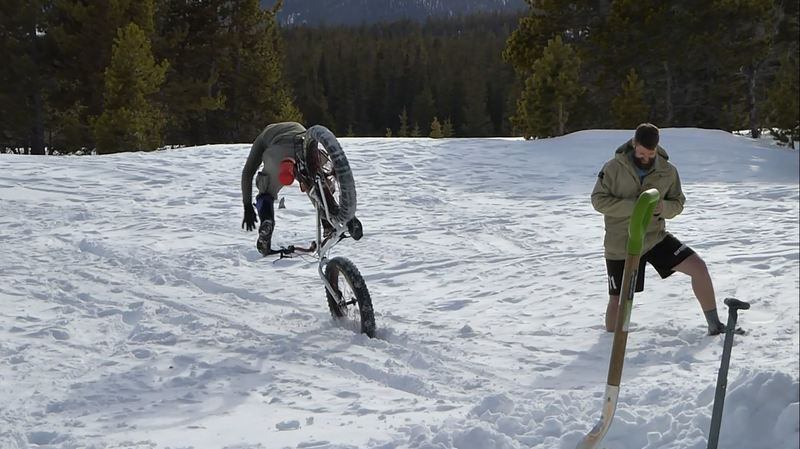 Jumping some fat bikes at the Hut.