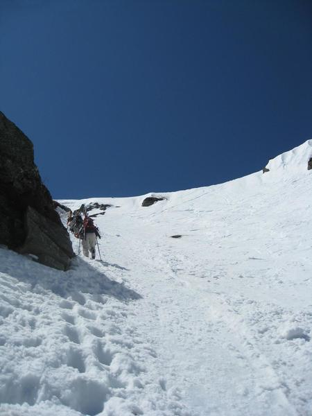 Booting up Left Gully on a perfect spring day.